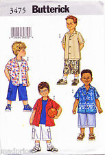 BUTTERICK SEWING PATTERN 3475 BOYS SZ 2-5 EASY LOOSE-FITTING SHIRT & SHORTS