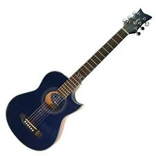 New Martinez Small-Body Acoustic-Electric Cutaway Travel Guitar (Blue)