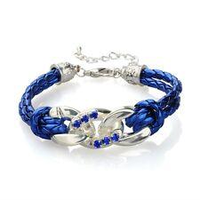 wunderschönes Armband Handarbeit Strass blau silber Kette  NEU