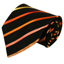D6014 Black and Orange Stripes Discount For Teen Polyester Neck Tie By Wise