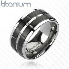 Titanium Ring Double Grooved Black Stripes with Multi CZ 10mm Titanium Band