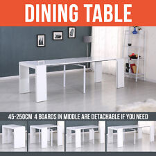 MODERN DESIGN HIGH GLOSS WHITE EXTENDING DINING TABLE CONSOLE TABLE 45-250CM