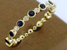 R256- GENUINE 9K Gold Natural Sapphire & Diamond Full Eternity Ring PLUS size X
