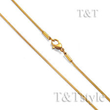 T&T 1.2mm 14K Gold GP Stainless Steel Snake Round Chain Necklace (C159)