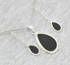 Onyx  Anhänger  Ohrringe  Set   925  Silber    Sterlingsilber