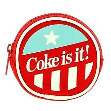 Official Retro American Style Coca-Cola Coin Purse - Zip Around Coke Round New