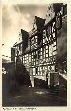 Stempel und Postkarte RÜDESHEIM Rhein AK 1929 DR Partie Klunkhardshof Haus
