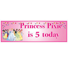 2 PERSONALISED DISNEY PRINCESS BIRTHDAY BANNERS 3ft x 1ft