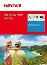 100 Sheets A4 260Gsm High Glossy Photo Paper Inkjet Paper Thick Heavy Hartwii AU
