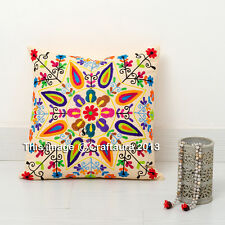 Ethnic Floral Cushion Cover Embroidered 16x16'' Pillow Throw 16 size Suzani Case