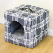 Grey Tartan Soft Cosy Igloo Cave Warm Pet Bed Dog/Puppy/Cat/Kitten Cube House