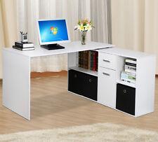 White Corner Adjustable Computer Desk Laptop PC Work Desk Home Office Furniture