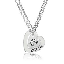 New Fashion Charm Double Heart Big Little Sister Silver Plated Pendant Necklace