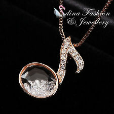 18K Rose Gold Plated Simulated Glass Crystal Graceful Swan Necklace Jewellery