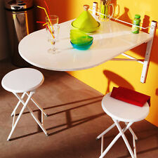 Drop Leaf Table & 2 Folding Stools Set of 3pcs Oval Wall Mounted Fold Away Table