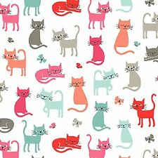 Cats, Cat Scatter on White by Makower  100% Cotton Fabric  FQ