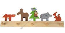 Kinder-Garderobe Waldtiere: Fuchs, Hirsch,  5 Haken, 50cm Holz, Kinderzimmer NEU