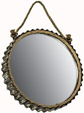 NEW Rustic Vintage Nautical Round Curved Metal Rope Hanging Wall Mirror Hall
