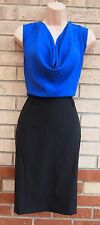 NEW LOOK BLACK BLUE COWL NECK PENCIL FORMAL WORK PARTY ELEGANT TUBE DRESS 14 L