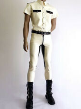 Latex Rubber Tights White Black Catsuit Handsome Police uniform XS~XXL customed