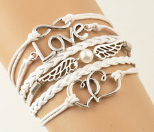 Fashion Infinity Love Heart Pearl Friendship Silver Leather Charms Cute Bracelet