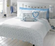 Shabby chic King size duvet cover & pillowcases, white with blue ribbon trim