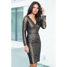 "NEW ""NEXT""( TALL) SIZE 10 BLACK & GOLD LACE, CHRISTMAS,OCCASION, PARTY DRESS"