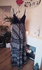 Maxi Dress size 10 extra long 100% cotton black and white by Heaven Designs