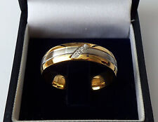 Men's Gold Plated Stainless Steel Crystal Set Wedding Band Ring, size U.