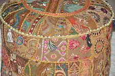 Large Indian Floor Pouf Ottoman Cover, pouffe pouffes, Foot Stool, Bean Bag Pouf