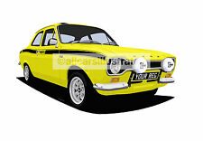 FORD ESCORT MEXICO MK1 CAR ART PRINT PICTURE (SIZE A3). PERSONALISE IT!