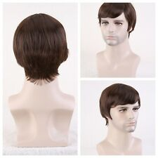 New Fashion Anime Wig Cool Men Cosplay Party Short Brown Hair Full Wigs cosplay