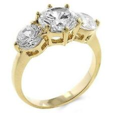 18K GOLD EP 4.1CT DIAMOND SIMULATED ENGAGEMENT RING size 6 or M