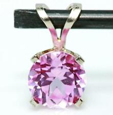 1.87ct Genuine Pink Sapphire 14K 14KT Solid White Gold Pendant FREE SHIPPING