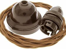 Vintage Style Real Bakelite Ceiling Pendant Kit with Bronze Fabric Twisted Flex