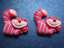 Cute Hot Pink Grinning Chester Cat Earrings from Disney's Alice in Wonderland