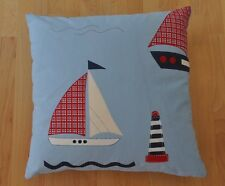 "New 16"" reversible zipped cotton cushion Laura Ashley boats, lighthouses nautica"