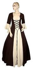 Mittelalter Kleid Gewand Gothic Maßanfertigung Kostüm 100%PE Braun-Beige F02