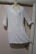 NWT VINTAGE STYLE WHITE WITH LACE TUNIC DRESS,SZ12 BY SUNNYGIRL