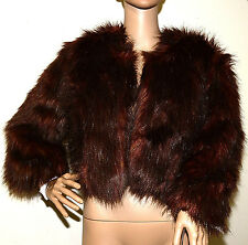 New $139 INC Burnt Amber Brown Cropped Faux Fur Jacket Coat large