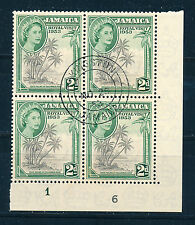 JAMAICA 1953 ROYAL VISIT PLATE BLOCK OF 4 USED