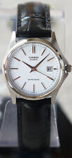 Casio LTP-1183E-7A Ladies Silver Analog Watch Leather Band Date Display New