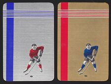 2 SINGLE VINTAGE SWAP PLAYING CARDS GOLD & SILVER ICE HOCKEY PLAYERS SPORT MEN