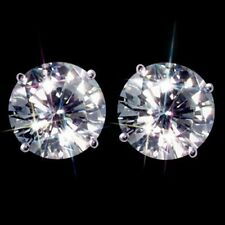 STERLING SILVER STUD EARRINGS CREATED DIAMOND LADIES GENUINE EXCELLENT QUALITY