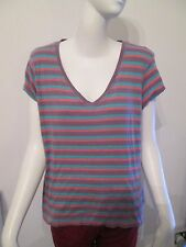 ATMOSPHERE - PINK STRIPED SHORT SLEEVED, V-NECK T-SHIRT size 18 -100% COTTON