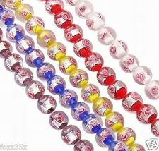 10 x Silver Foil Mixed Colour Round Glass Beads - 11mm - Rose Design - GB9