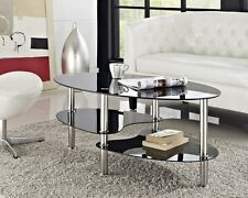 Modern Black Glass & Chrome Oval Living Room Coffee Table With 2 Shelves