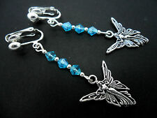A PAIR OF DANGLY TIBETAN SILVER BLUE CRYSTAL CLIP ON  FAIRY ANGEL EARRINGS. NEW.