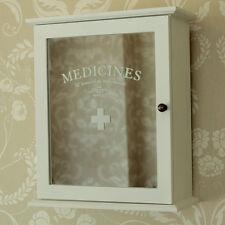 Small White mirrored bathroom kitchen medicine cabinet cupboard French wooden