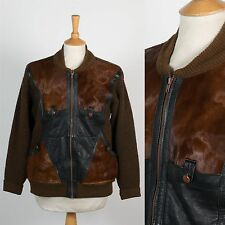 MENS RARE VINTAGE 70'S HORSE HAIR AND LEATHER KNIT JACKET BOMBER ITALIAN M